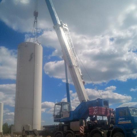 Перевозка и монтаж емкости весом 22 тонны Автокраном 50 тонн
