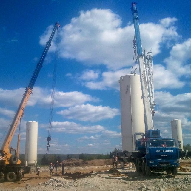 Перевозка и монтаж емкости весом 22 тонны